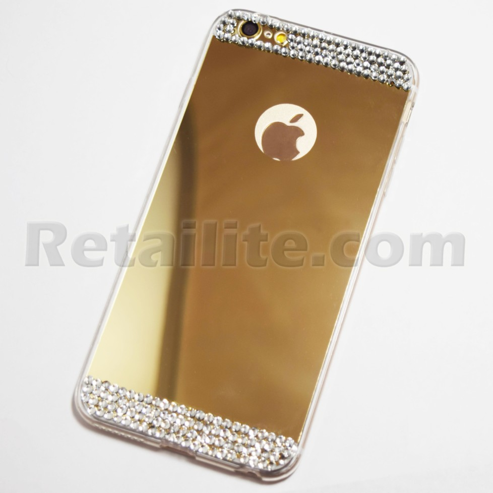 diamond studded gold iphone 6 plus 6s plus mirror case retailite. Black Bedroom Furniture Sets. Home Design Ideas