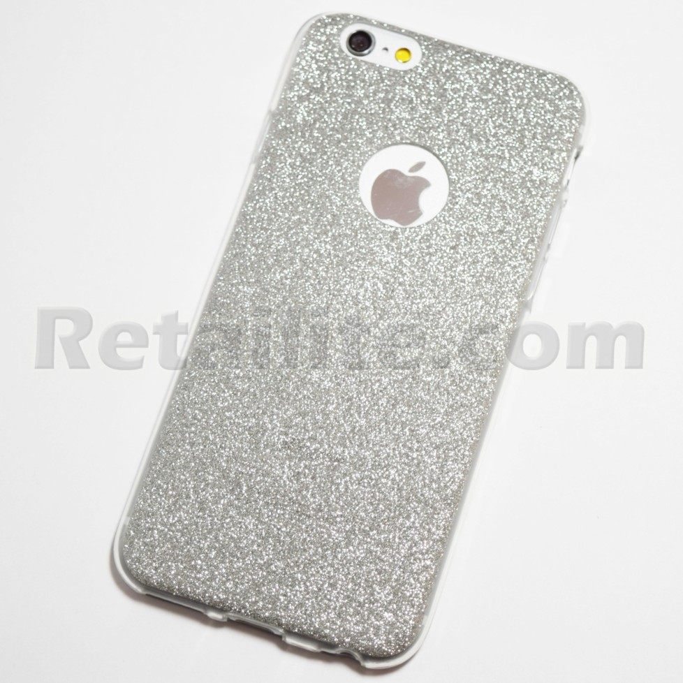 silver glitter iphone 6 iphone 6s soft case. Black Bedroom Furniture Sets. Home Design Ideas