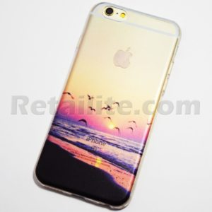 Seagulls flying at sunset on the beach iPhone 6 6S Soft Case