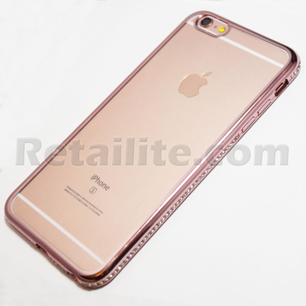 rose gold diamond studded rhinestone framed iphone 6 plus. Black Bedroom Furniture Sets. Home Design Ideas