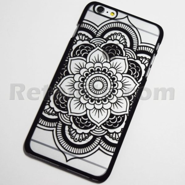 black mandala flower iphone 6 hard case