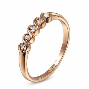5 diamond 18k gold ring
