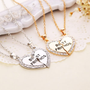 best friends heart necklaces