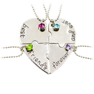 4 piece heart bff necklace