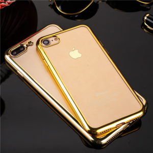 Gold Chrome Framed iPhone 7 plus clear cases