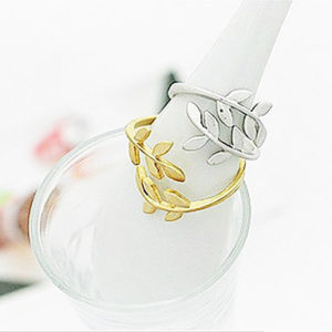 silver and gold plated leaf rings
