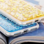Blue and Gold Foil Metallic Flakes iPhone 7 clear case