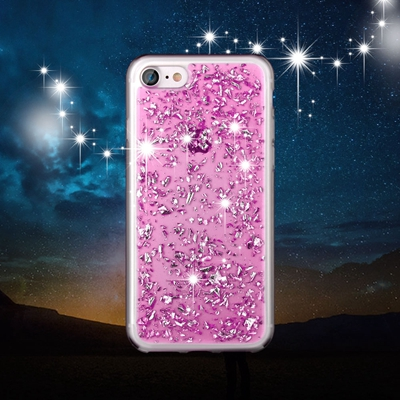 Pink Foil Metallic Flakes iPhone 7 case