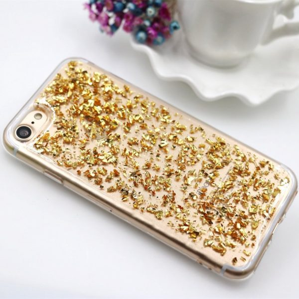 gold metallic flakes iphone 7 case