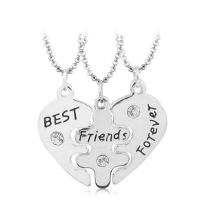 3 piece heart bff necklaces