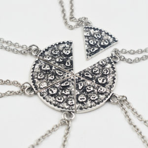 silver 6 piece pizza bff necklace