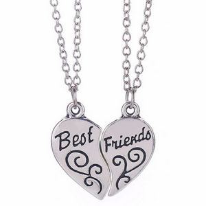 Silver Heart Pendant Best Friends Necklaces