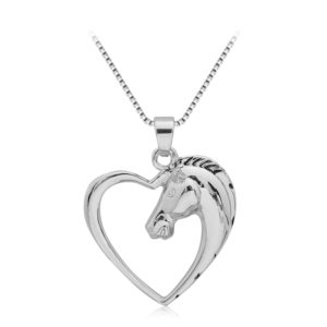 silver plated heart horse pendant necklace
