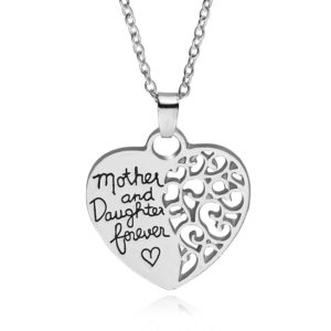 mother and daughter forever silver heart pendant necklace
