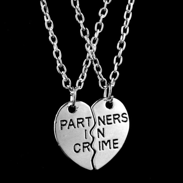 partners in crime 2 piece friendship necklaces