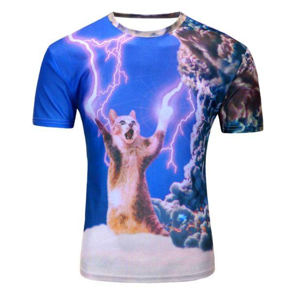 cat shooting lightning bolts clouds t shirt