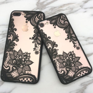 Black Floral Lace Henna iPhone 7 cases