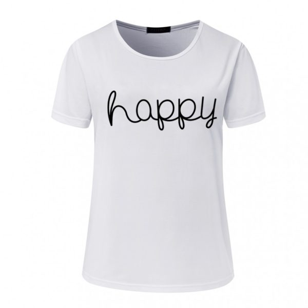 Happy cursive women's t-shirt white