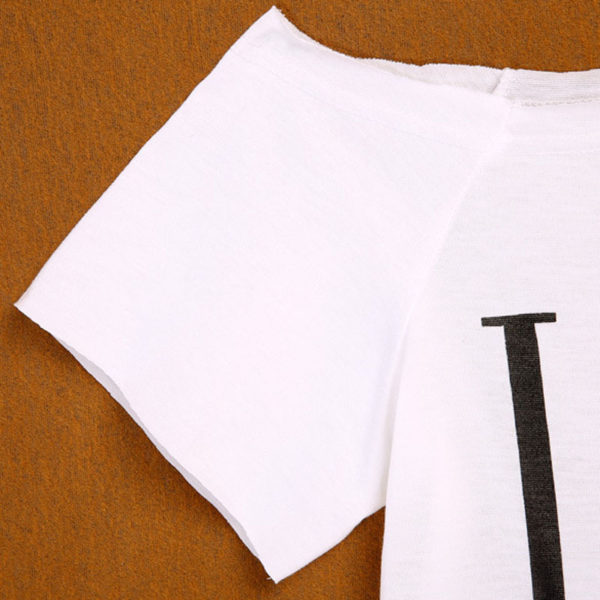 LOVE one shoulder women's white t-shirt