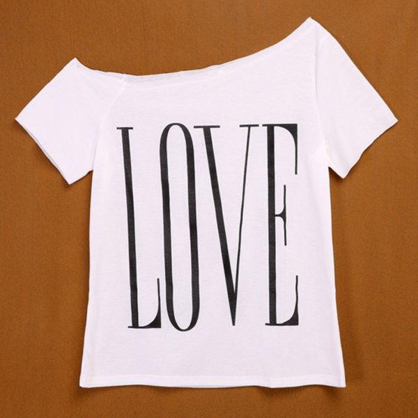 White LOVE one shoulder women's t-shirt