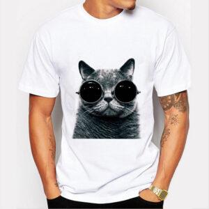 cat wearing sunglasses t-shirt