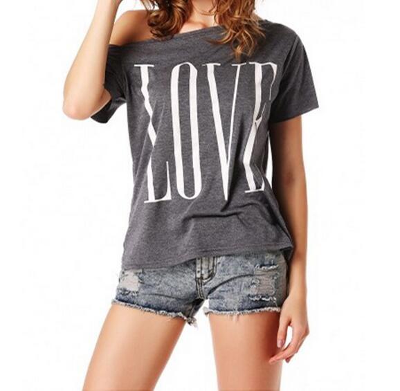 grey LOVE women's one shoulder t-shirt